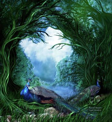 Wildlife Mixed Media - Peacock Meadow by Carol Cavalaris