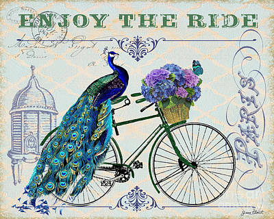 Peacock On Bicyle-jp2554 Original by Jean Plout