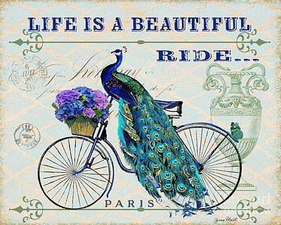 Peacock On Bicyle-jp2555 Original by Jean Plout