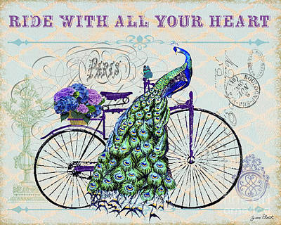 Peacock On Bicyle-jp2556 Original by Jean Plout