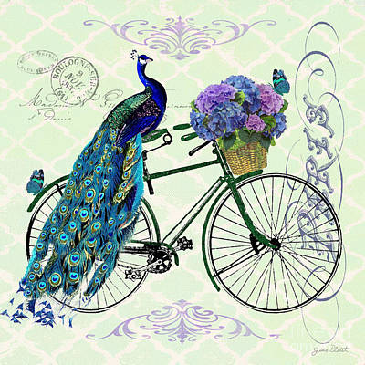 Peacock On Bicyle-jp2557 Original by Jean Plout