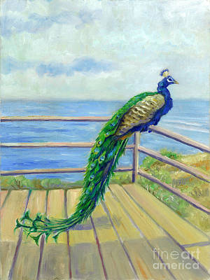Loose Painting - Peacock On The Deck by Catherine Garneau