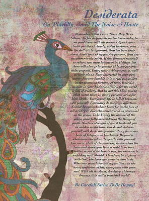 Love Poem Drawing - Peacock Pointing To Desiderata by Desiderata Gallery