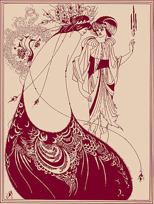 Wall Art - Drawing - Peacock Skirt Maroon And Cream by Aubrey Beardsley