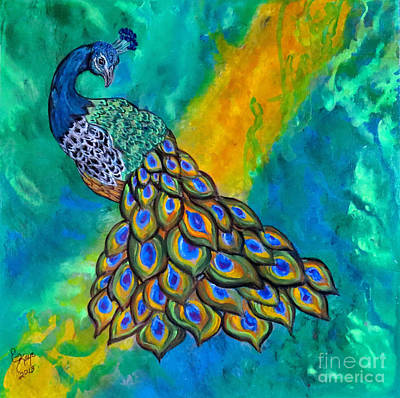 Indian Contemporary Artist Painting - Peacock Waltz II by Ella Kaye Dickey