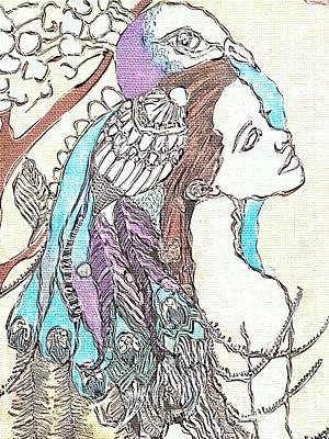 Peacock Woman 2 Print by Amy Sorrell