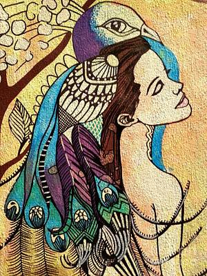 Peacock Woman Art Print