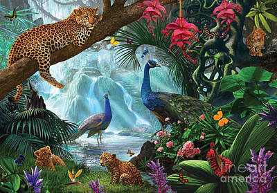 Waterfall Digital Art - Peacocks And Leopards by Steve Crisp