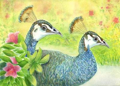 Painting - Peahens Strolling In The Garden by Jeanne Kay Juhos