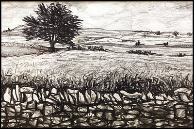 Stonewall Drawing - Peak District by Paul Sutcliffe