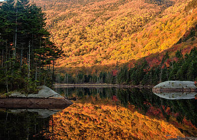 Peak Fall Foliage On Beaver Pond Art Print by Jeff Folger
