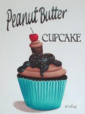 Chocolate Cake Painting - Peanut Butter Cupcake by Catherine Holman