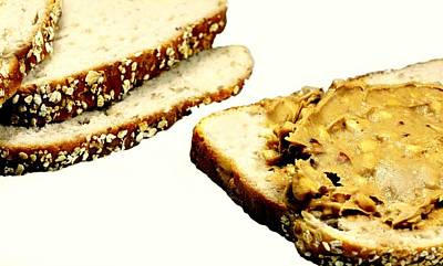 Oatmeal Photograph - Peanut Butter On Oatmeal Bread by Diana Angstadt