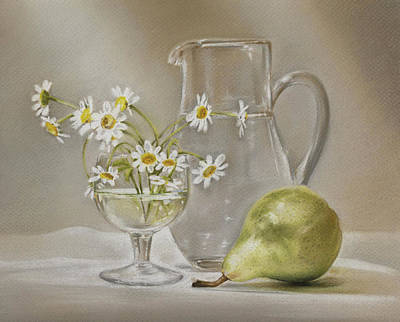 Painting - Pear And Daisies by Natasha Denger