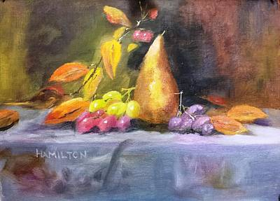 Painting - Pear And Grapes Still Life by Larry Hamilton