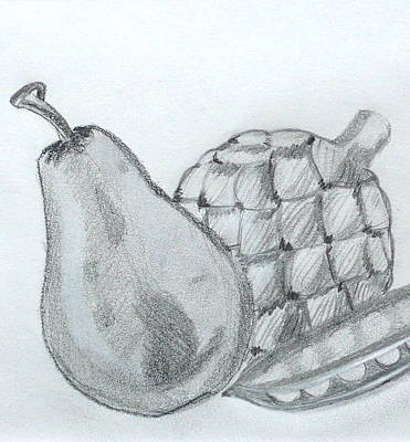 Artichoke Drawing - Pear Artichoke Snap Pea by Anna Ruzsan