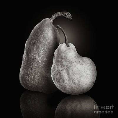 Pear Fruit Friends On Black Art Print by Angela Waye