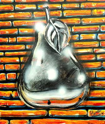 Reflection Harvest Painting - Pear by Marcello Cicchini