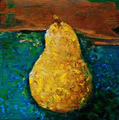 Pear On Blue Table Art Print by Jean Cormier