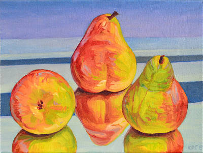 Pear Reflection Print by Kenneth Cobb