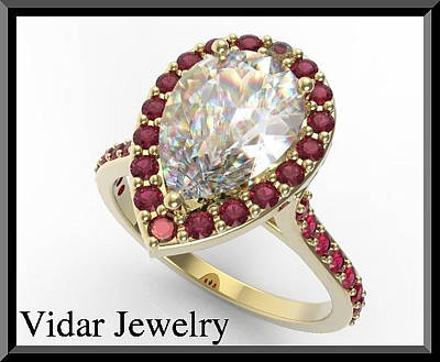 14k White Gold Jewelry - Pear Sapphire 14k Yellow Gold Engagement Ring by Roi Avidar