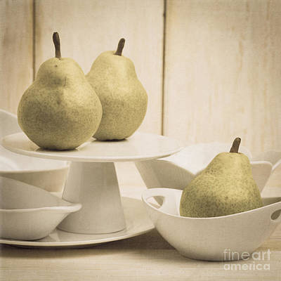 Pear Still Life With White Plates Square Format Art Print