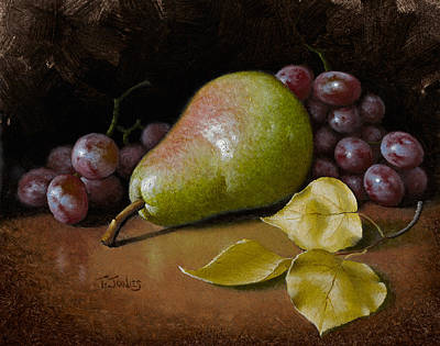 Pear With Birch Leaves Art Print by Timothy Jones