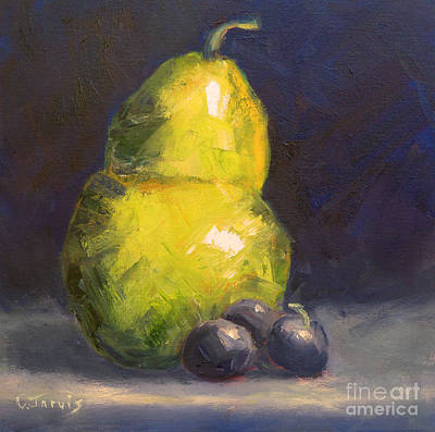 Painting - Pear With Dark Grapes by Carolyn Jarvis