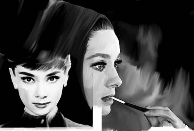 Audrey Hepburn Drawing - Audrey Hepburn Pearl  by Iconic Images Art Gallery David Pucciarelli