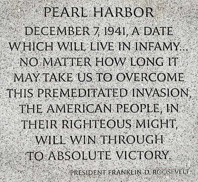 Stone Memorial Photograph - Pearl Harbor Speech - Franklin Delano Roosevelt by Gary Whitton