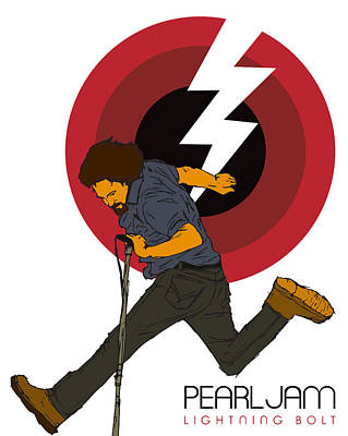 Eddie Vedder Digital Art - Pearl Jam Lightning Bolt by Tomas Raul Calvo Sanchez