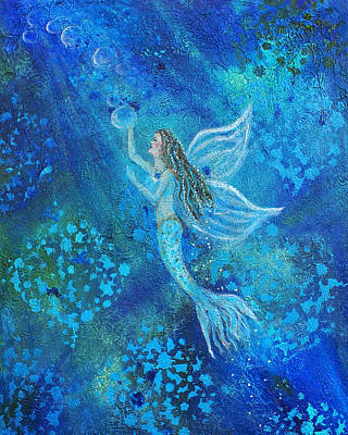 Angel Mermaids Ocean Painting - Pearl Out Of The Depths by The Art With A Heart By Charlotte Phillips