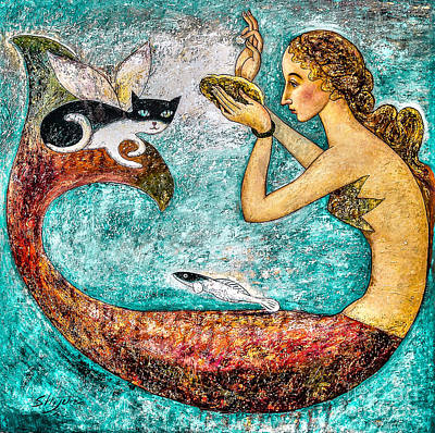 Mermaid Painting - Pearl by Shijun Munns