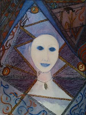 Mixed Media - Pearl With Dark Blue Eyes by Marian Hebert