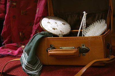 Pearls And Brush Set In A Suitcase Art Print
