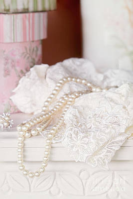 Pearls And Lacy Lingerie Art Print