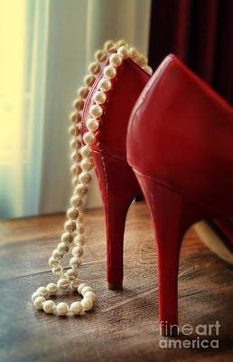 Photograph - Pearls And Red High Heel Shoes by Jill Battaglia