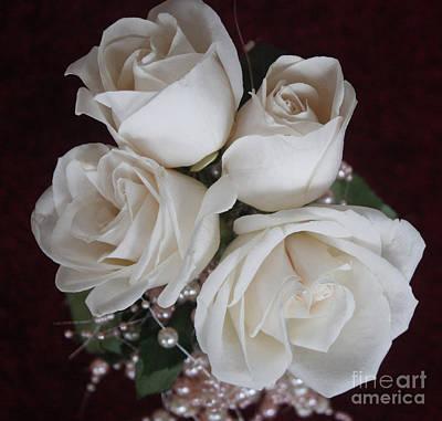 Pearls And Roses Art Print by Nancy TeWinkel Lauren