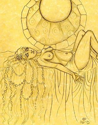 Pearls Entwined In Her Hair Sketch Art Print by Coriander  Shea