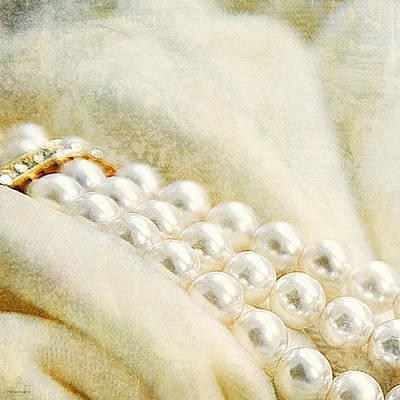 Pearls On White Velvet Art Print by Theresa Tahara