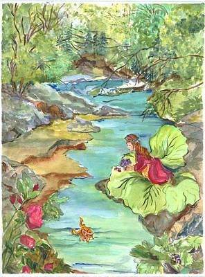 Pearl's Scarlet Secret At The Brookside Art Print by Patty Boban Lipinski