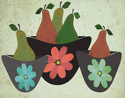 Pears Painting - Pears & Bowls by Shanni Welsh