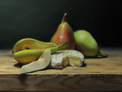 Cheese Green Pears Painting - Pears And Cheese by Brianne Kirbyson