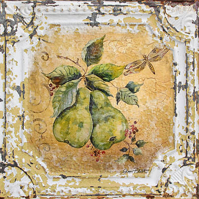 Jean Plout Painting - Pears And Dragonfly On Vintage Tin by Jean Plout