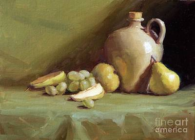 Pears And Grapes Still Life Art Print by Viktoria K Majestic