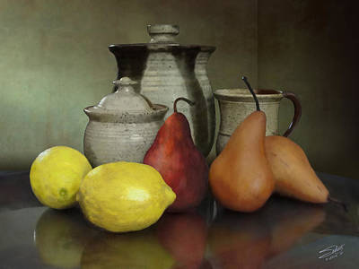 Pottery Painting - Pears And Lemons by IM Spadecaller