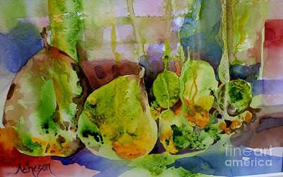 Painting - Pears And Limes by Donna Acheson-Juillet