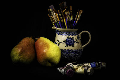 Paintbrush Photograph - Pears And Paints Still Life by Jon Woodhams
