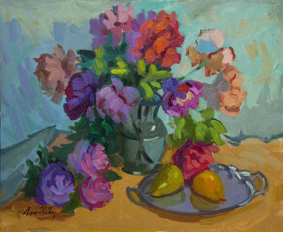 Painting - Pears And Roses by Diane McClary