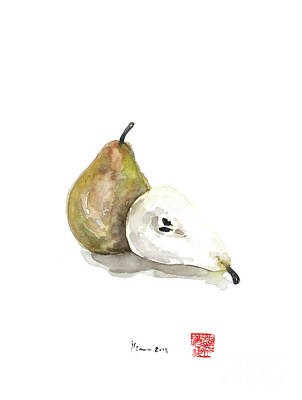 Pears Painting - Pears Green Yellow Fruit Brown Pear Fruits Kitchen Watercolor Painting by Johana Szmerdt